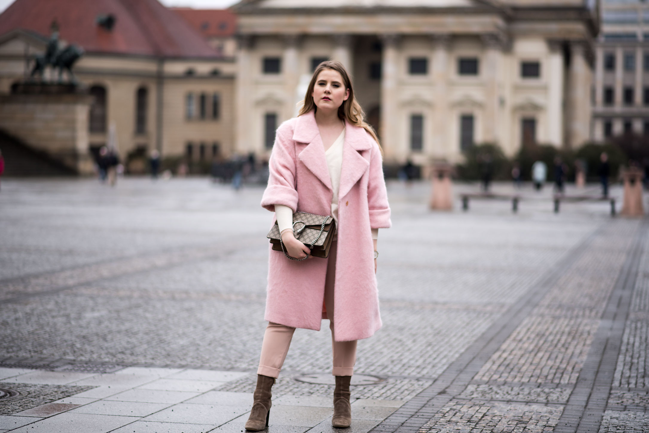 pink coat, pink trousers, beige ruffle pullover, gucci bag florafallue